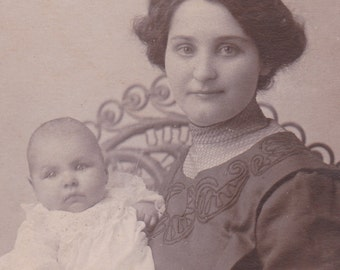 """Ca. 1908 """"Mother Holding Baby"""" Black and White Real Photo Postcard  - 749 - RPPC"""
