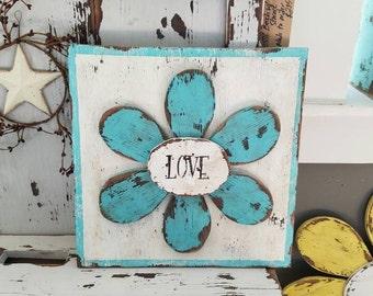"Primitive ""Love"" flower plaque - rustic garden decor - chabby chic"