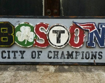 "Vintage ""Boston - City of Champions"" Sign, old New England sports decor, Bruins, Patriots, Celtics, Redsox Sign"