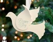Peace Dove Christmas Ornament Christmas Ornament White Ornament Ceramic Christmas Gift