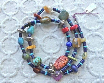 23 Inch Southwestern Lapis Heishi Necklace with Gemstones and Earrings