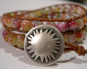 Beaded wrap bracelet, Wrap bracelet, Beaded LeatherWrap, Boho bracelet, Beaded wrap - 852