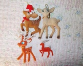 Four vintage flocked red, brown & green reindeer Christmas tree ornaments