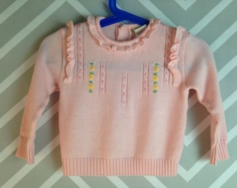 vintage pastel pink sweater with embroidered flowers and ruffles for baby by jcpenney toddletime 12-18 months