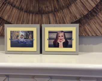 Distressed Picture Frames, Aqua 5x7 Frame, Rustic Frames, Wedding Gift, Set of Two Frames