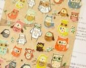 Diary Scrapbook Funny Embossed Sticker Cute Owl