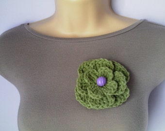 Crochet Flower Brooch, Accessories