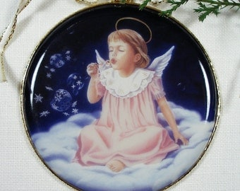 Angel Christmas Ornament, Snow Bubbles Angel