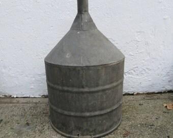 Vintage Galvanized Industrial Metal Funnel, Gas Funnel, Farmhouse Decor,