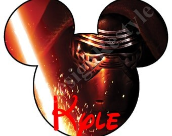 Star Wars Kylo Ren Mickey Mouse Personalized Iron-On Digital File