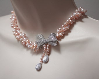 MA MIGNONNE - blush freshwater pearls an cubic zirconia bow necklace