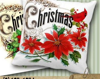 "Christmas - 3 Digital Printable Sheets 12""x12"" for card making, scrapbooking, Iron-On Transfer - pillows, tote bags Instant Download CP-513"