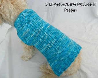 Easy dog sweater knitting pattern for medium and large dogs - PDF, instant download