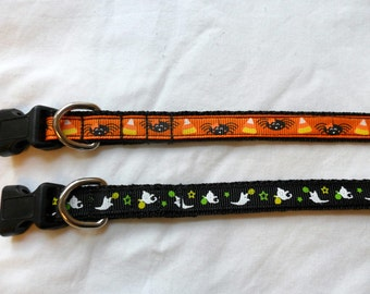 Halloween Cat Collar or Dog Collar, You Choose 1 - Spiders or ghosts, Size Medium or small, Adjustable