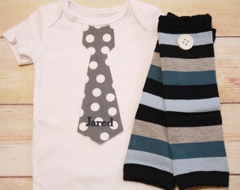 PERSONALIZED, MONOGRAMMED Neck Tie Bodysuit for Baby Boys with Matching Striped Leg Warmers