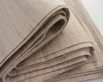 Beige tussar Indian raw silk fabric nr 628 FULL YARD / METER