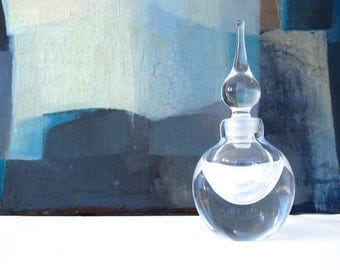 Teardrop Art Glass Perfume Bottle, Signed