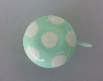 bicycle bell polka dots mint white bicycle bell bike bell bicycle accessories cycling accessory bike art spring colors mint green USA