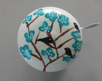 bicycle bell hand painted custom unique cycling gift turquoise cherry blossoms raven black birds flowering trees bike art unique gifts biker