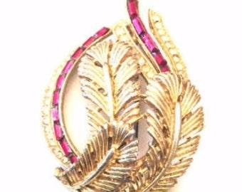 Red Baguette Rhinestone Brooch, Leaf Pin, Art Deco Retro, Vintage Jewelry, SUMMER SALE