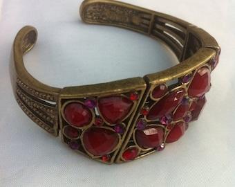 Stretch Bracelet, Ruby Red Glass Vintage Jewelry CHRISTMAS SALE FREE Shipping