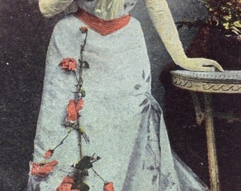 Antique Edwardian Postcard, Lady, 1900 WINTER SALE