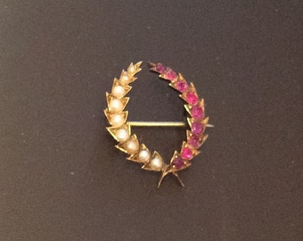 Victorian Ruby Pearl Brooch, Wheat Wreath, 15K Gold, Vintage Jewelry SPRING SALE