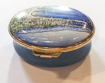 Blue Enamel Trinket Box, Cannes, French Seaside, Staffordshire Enamels, Vintage WINTER SALE