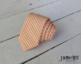 Orange Gingham Necktie~Anniversary Gift~Wedding Tie~Boys Necktie~Mens Necktie~Wedding~Mens Tie~Boys Tie~Mens Gift~Orange Tie~Orange Necktie