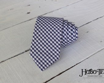 Navy Gingham Necktie~Anniversary Gift~Wedding Tie~Boys Necktie~Mens Necktie~Wedding~Mens Tie~Boys Tie~Mens Gift~Navy Tie