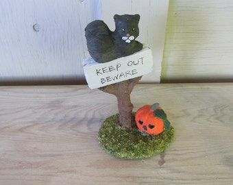 vintage Halloween decoration black cat pumpkin Jack o Lantern sign
