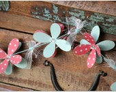"Flower Garland - ""Blue Polka Dot"".  Girls room decor, nursery decor, party garland, window accessory."
