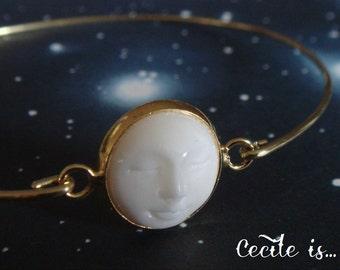 Moon face bone bangle - Moon face bracelet - Moon bangle - Boho gypsy bracelet - Boho bangle - Gold bangle - Minimalist jewelry
