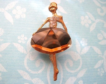 Ballerina Brooch Pin Brown Glass Gole Tone Rhinestones Ballet 90s Figural Style