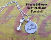I am strong, custom weight, dumbbell, kettle bell necklace, cross fit, swole sisters, weightlifting, girl power, x fit, cross fit