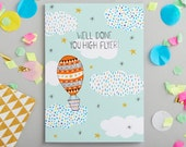 Well Done Greetings Card - Design led stationery printed in the UK - well done card - high flyer card - Quirky and colourful paper products