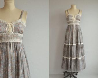 Vintage Gunne Sax Dress / 1970s Sheer Blue Floral Print Boho Midi Festival Lace Up Corset Sundress