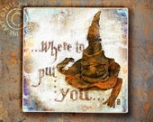 Sorting Hat Art Tile, Harry Potter inspired, Gryffindor, Hufflepuff, Ravenclaw, Slytherin. Where to put you?