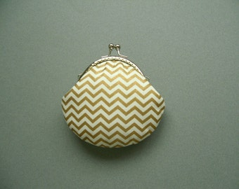 SHOP CLOSING SALE  Gold Metallic Chevron Coin purse - Hoilday Gift - Birthday Gift - Stocking Stuffer - Gifts Under 20 - Gifts for Her