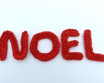 4 crochet letters NOEL, applique alphabet.