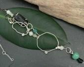 Glass, Tektite, Crystal, Serpentine, Basalt Organic Sterling Silver Necklace