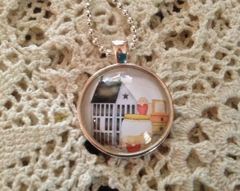 Prim Gathering Necklace,  Prim Pendant Jewelry, Cabochon Necklace, Gifts for Her, Glass Dome Necklace, Cameo Necklace