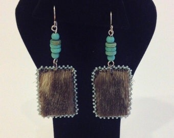 Beaded Sealskin Earrings by Autumn Shotridge Tlingit Alaskan Native American Handmade