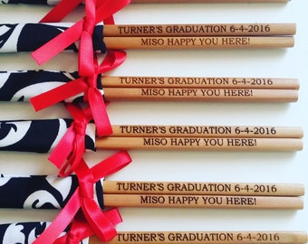 Personalised engraved chopsticks in sleeves and ribbons (min 20 pairs)