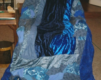 Blue Waterfall Crazy Quilt