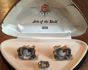 Rare Original Vintage SWANK Arts of The World Bavarian Crystal Colosseum Cufflinks
