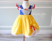 Snow White Inspired Dress - Snow White Halloween Costume - Snow White Flutter Sleeve Dress with Pick Up & Fully Lined Skirt with Lace Trim