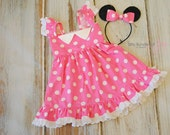 Pink Minnie Mouse Inspired Dress or Costume with Sparkling Black Sequin Ears with Matching Polka Dot Bow