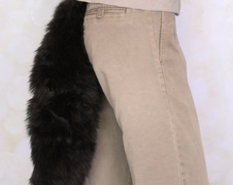 Black Luxury Fur Tail- solid Cosplay, Accessories, Costume