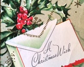 Vintage Christmas Card, Holly with a Spritz of Hand Applied Glitter, ca. 1950s